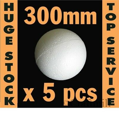 Polystyrene Ball in 2 HOLLOW HALVES: 5 balls x 300mm