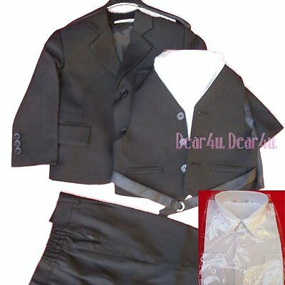 free shipping from SYD Boy Formal SUIT Christening Wedding Black dress sz 0-16