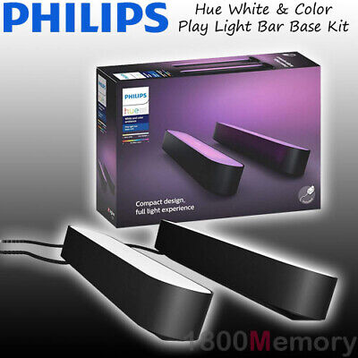 Philips Hue White and Color Ambiance Smart Play Light Bar Dual Pack Black IP20