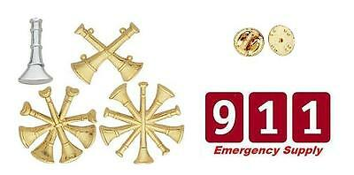 Fire Dept Bugles Collar Pins Insignia New Gold Pick Rank Chief Captain Sergeant