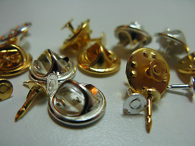 Tie Tac Pin flat pad & squeeze clutch back tacs  Silver or Gold Plated or Mix