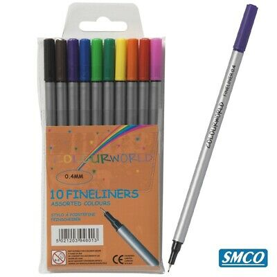 Qty 10 Assorted Colours Fineliner Fine 0.4mm Metal Encased Tip Fast Drying Ink