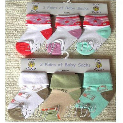Pack of 3 Baby Socks Choice of Girls or Boys Set Three Sizes Available