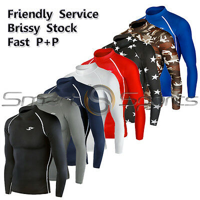 Golf Skin Tight Long Sleeve Compression Base Layer Sports Shirt Mock Neck TFx