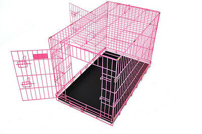 "Pink Large 48"" 3 Door Folding Dog Crate Cage w/ Divider"