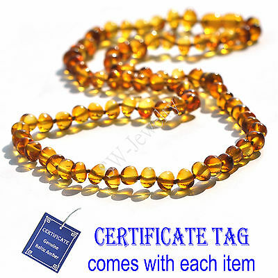 Honey Natural Baltic Amber Knotted Adult Necklace Baroque N80090