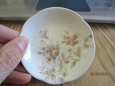 Antique Butter Pat Johnson Bros England Royal Pink Flowers & Green Leaves 3""