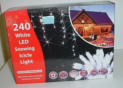240 White Outdoor Multi Action Snowing Icicle Lights 4.6m Length (L157)