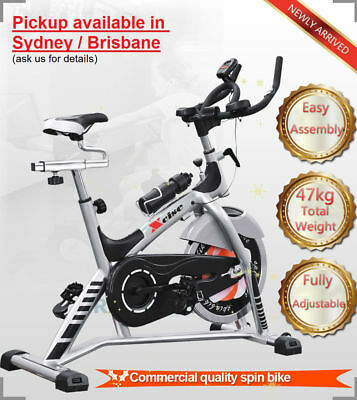 New 47Kg Heavy Duty Commercial Spin  Exercise Bike Pulse Monitor Homegym Fitness