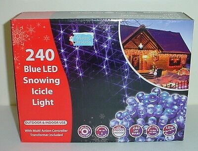 240 Blue Outdoor Multi Action Snowing Icicle Lights 4.6m Length (L158)