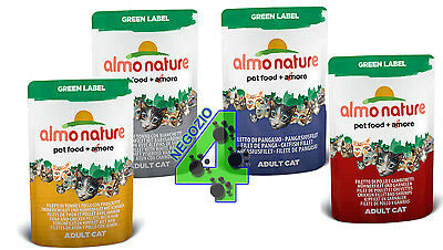 96 bustine ALMO NATURE GREEN LABEL 55 GR PER GATTI GATTO CAT GUSTI A SCELTA