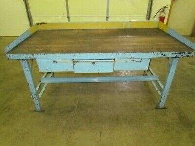 "Vintage Industrial Steel Workbench 36x72"" Butcher Block 3 Drawers 34"" High"
