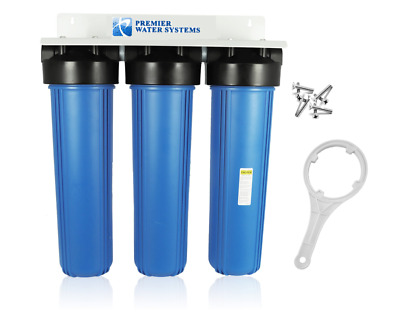 """Triple Big Blue 20"""" Water Filter System 1"""" With Bracket Wrench"""