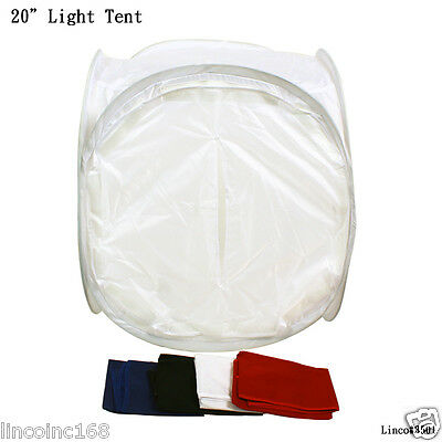 """20"""" Light Tent Photo with 4 Colored Backgrounds white black blue red for studio"""