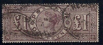 GREAT BRITAIN #110 £1 brown violet, used, full perfs and VF, rare Scott $3,250