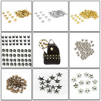 50 x Star Nail Head Studs Punk Rivets with Spikes in 10, 15, 20mm Leather Craft