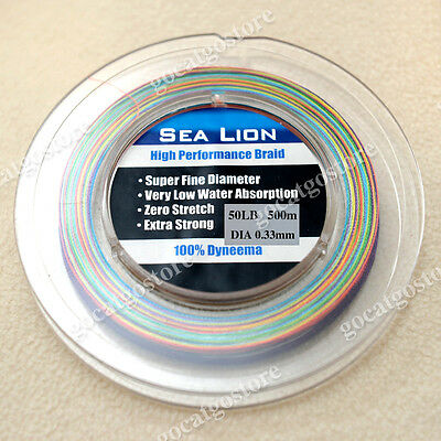 NEW Sea Lion 100% Dyneema  Spectra Braid Fishing Line 500M 50LB Multi Color