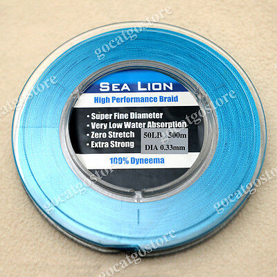 NEW Sea Lion 100% Dyneema  Spectra Braid Fishing Line 500M 50lb Blue