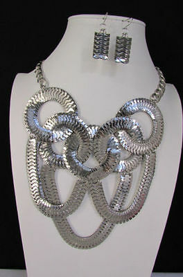 New Women Silver Metal Round Link Chains Jewelry Long Fringe Necklace + Earring