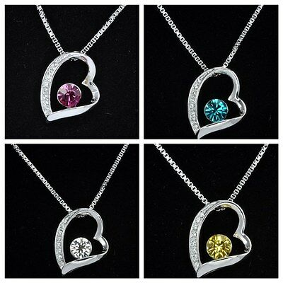 18K White Gold Plated Heart Pendant Necklace with Swarovski Crystal - Gift Boxed