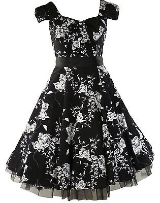 Womens 40s 50s Vintage Style Black Floral Bow Detail Jive Swing Dress New 8 - 18