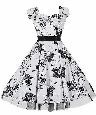 New 40's 50's White Floral Bow Vtg Rockabilly Jive Swing Prom Tea Dress 8 - 18