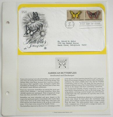 American Butterflies  Swallowtail & Checkerspot  First Day Of Issue Stamp