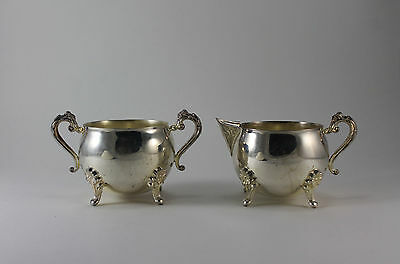 Vintage Silver Plate Footed Creamer Pitcher and Sugar Bowl with  Ornate Handles