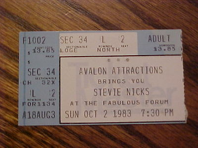 Vintage Stevie Nix Concert Ticket Avalon Attractions 1983
