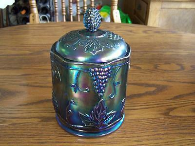 Vintage Indiana Harvest Grape Carnival Glass Canister Jar Old Heavy irridized
