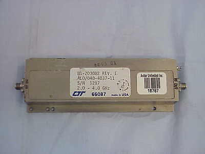 RF Microwave Amplifier SMA 2.0 to 4.0 GHz +35dB Gain CTT AL0/040-4037-11 Tested