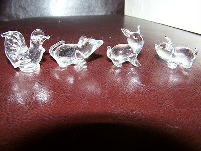 4 Miniature Art Glass Animal Figurines, Handcrafted, Rooster Rat Rabbit Pig