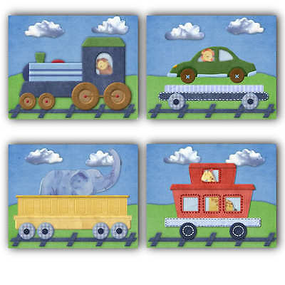 Train Ryder Jungle Animals nursery bedding artwork decor PRINTS for baby boy kid