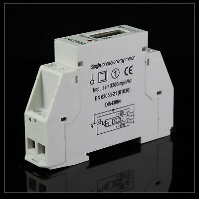 5(32A) 220VAC Single Phase DIN-rail Kilowatt LED Hour kwh Meter 60hz CE Proved