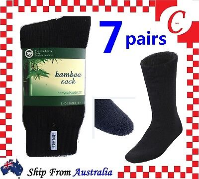 7 Pairs SIZE 6-11 BAMBOO SOCKS Men's Heavy Duty Premium Thick Work Socks BLACK