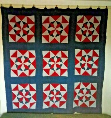"""ENIGMA STARS"" in Sashing Amish QUILT: 74"" x 74"", c.1900, Lancaster PA. Cottons."