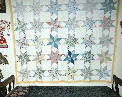 """CARPENTER'S STARS"" QUILT: All Cottons, 70"" x 80"", c.1920-30. Yellow Border."