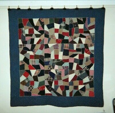 "Amish/Mennonite ""CRAZY"" QUILT: 66"" x 66"", c.1900-20, PA, Wools & Cottons"