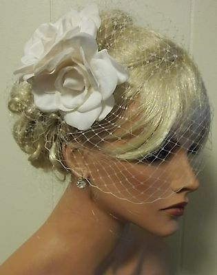 Bridal Fascinator, Flower Hair Clip, White or Ivory & Bridal Wedding Veil Set