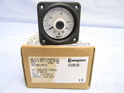 NEW Crompton 083 Series AC Ammeter Indicator Range 0-5A Scaled 0-100A