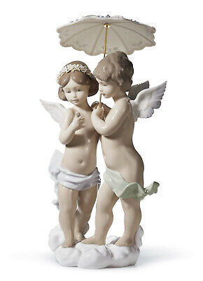 Lladro #6803 Waiting For A Rainbow Brand Nib Boy Girl Angel $500 Off Free Shippi