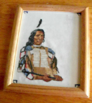 """Needlepoint ? Red Cloud, Lakota Sioux, with Peacepipe, 9-1/2"""" x 11-3/4"""""""