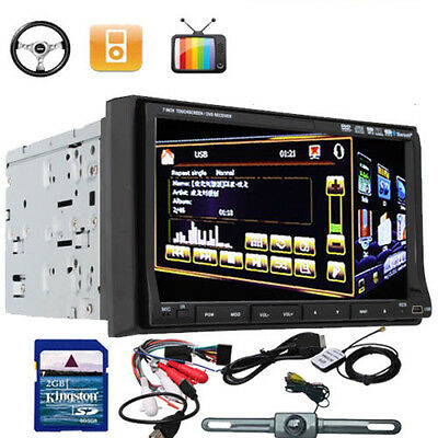"Detachable Panel+CAM+Map+2 Din 7"" Car CD DVD Player GPS Dual Zone Bluetooth TV"