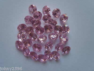6x 4mm round cut pink loose cubic zirconia gemstones for £1.20p.