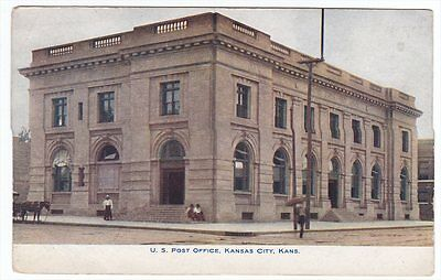 Kansas City KS US Post Office 1908 Colored Postcard