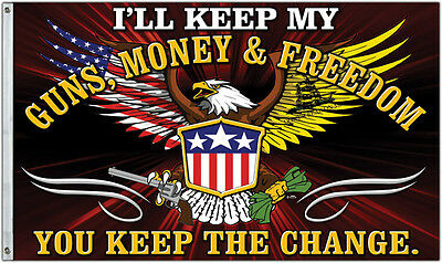 Keep The Change Flag - Guns, Money, & Freedom - United States Don't Tread On Me