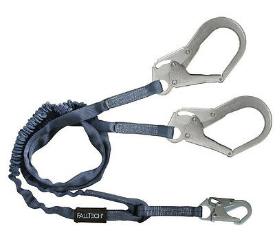 Falltech 8259Y3 6' Double Lanyard with Rebar Hooks For 100% Tie-Off