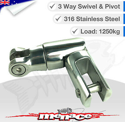 Stainless Steel Anchor Swivel 1250 KG weight rating - 3 way swivel & pivet