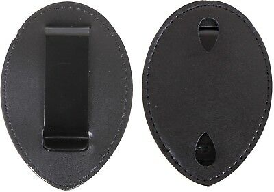 Black Leather Clip On Law Enforcement Badge Holder