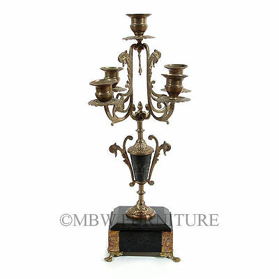 Antique English Stone Marble Brass French Style 5 Light Candelabra  c1910  p80B